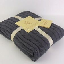 RALPH LAUREN CABLE KNIT THROW BLANKET Gray Charcoal Grey 100% COTTON NEW