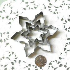 3X Metal Snowflake Biscuit Cookie Cutter Fondant Cake Decorating Mold Mould S/ML