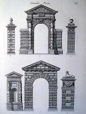 ARCHITETTURA,PARTICOLARE,STILI,ORNAMENTI,PORTA GRANDE,INCISIONE,STAMPA ANTICA