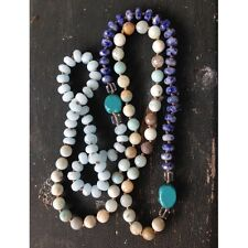 FREE PEOPLE TURQUOISE Semi-Precious Natural Stone Long Crystal NECKLACE New