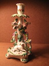 EARLY BRITISH PORCELAIN CANDLESTICK WITH FLOWERS AND FIGURE OF A LAMB