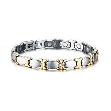 Women's Elegant Silver&Gold Magnetic Health Therapy Stainless Steel Bracelet