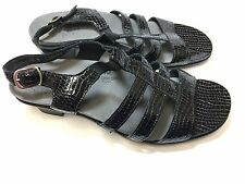 SAS black patent alligator patent leather sandals. Women's 10 M made in USA New