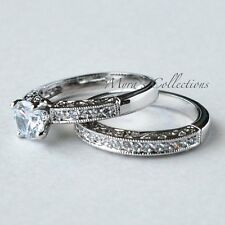 1.75CT VINTAGE FILIGREE BRIDAL WEDDING ENGAGEMENT RING BAND SET WOMEN'S SIZE 10