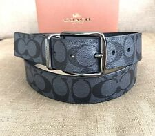 COACH MEN'S WIDE HARNESS SIGNATURE CUT TO SIZE  REVERSIBLE  BELT W/GIFT BOX