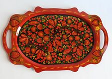 wooden lacquer tray plate russian khokhloma hand painted folk art new authentic