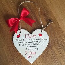 Handmade Mothers Day/Birthday Gift Wooden Heart Plaque For Mummy/Mum