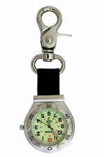 Entino Brand Silver Clip on Carabiner Luminous Face FOB Watch For Doctors Nurses