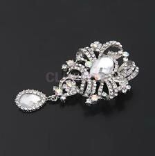 AB Color Large Flower Brooch Rhinestone Crystal Diamante Wedding Broach Pin