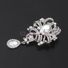 AB Color Large Flower Brooch Rhinestone Crystal Diamante Wedding Broach Pin