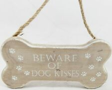 'BEWARE OF DOG KISSES' WOODEN BONE SHAPE HANGING SIGN GREAT GIFT FOR DOG LOVERS