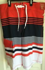 """Mossimo Red Blue White Striped Tie Front 22"""" Below Knee Board Shorts Men's 32"""