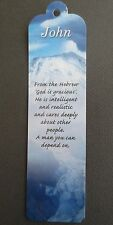 BOOKMARK JOHN Name Meaning CHRISTMAS Stocking BIRTHDAY Thankyou Gift Present