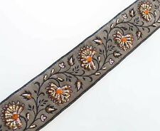 Persimmon Beaded Flowers on Brown & Gold Jacquard Trim. Hand Beaded Trim.