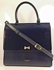 Ted Baker Black Faux Leather Flap Top Handle Satchel with Leather Shoulder Strap