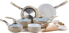 6 Piece MOCHA Ceramic Coated Aliminium Pan Set & FREE Utensils - Saucepan Set