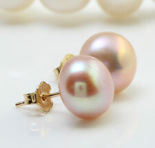 Natural 9.40 mm Fresh Water Pearl in 14K Solid Yellow Gold Stud Earrings