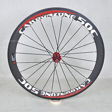 Carbon Rear wheel 700C 50mm Clincher Road Bicycle white red logo Rim 23mm wide