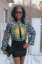 Couture Designer Custom Sun Stars sequins beaded Matador bolero coat Jacket S-4