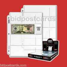100 BCW 4-Pocket Currency Money Bills Archival Display Pages Binder Album Refill