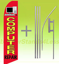 Feather Swooper Flutter Tall Banner Sign Flag 15' Kit - COMPUTER REPAIR rb