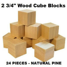 2.75 Inch Cubes Natural Wood Toy Building Blocks Made in USA - SET OF 24