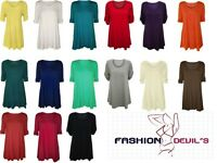 New Womens Ladies Plus Size Scoop Neck tunic Flared Ladies Long Top size 14-28