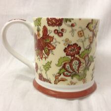 "QUEEN'S BONE CHINA SANDERSON OSTERLEY MUG 3 1/4"" RUST & GREEN FLORAL SCROLLS"
