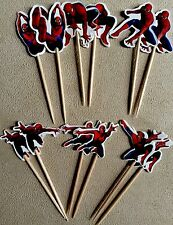 12 X Spiderman Cake Picks,Party Cupcake Toppers Birthday Decorations Superheroes