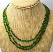"""Fashion 3 rows faceted 4mm dark green emerald gemstone beads Necklace 17-19"""""""