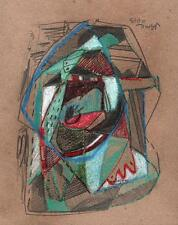 ABSTRACT STUDY IN THE STYLE OF PICASSO Pastel Drawing 2013 INDISTINCT SIGNATURE