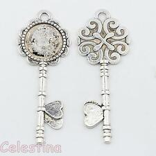 2 x Antique Silver Alice in Wonderland LARGE Heart Key Charms Cabochon - 72mm