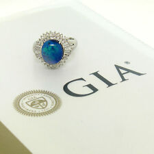 GIA Certified Platinum 4.31ctw Oval Cabochon Black Opal & Diamond Cocktail Ring