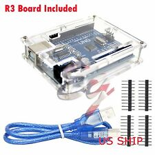 Clear Cased UNO R3 MEGA328P ATMEGA16U2 Development board for Arduino + USB Cable