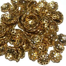 MX596p Antiqued Gold 12mm Open Flower Round Zinc Alloy Metal Bead Caps 200/pkg