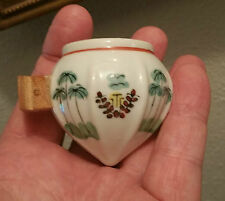 ANTIQUE chinese bird cage feeder bowl vtg pet water seed porcelain pottery art