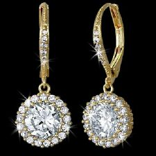 3.5c Dangle Leverback Halo Pave Signity CZ Cubic Zirconia Drop Earrings Gold GP