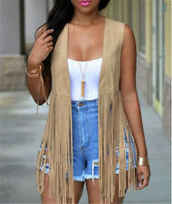 Outerwear Waistcoat Fashion Summer Sexy Women Tasseled Vest Top Faux Suede Coat