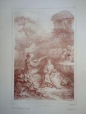 D'AP. F.BOUCHER 1703-1770 LITHO XIX° SANGUINE MUSIQUE AMOUR ROMANTIQUE ROCOCO ap