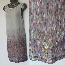 MONSOON Ivory Silk Wedding Bridal Heavily Sequinned Formal Tunic Dress 12  EU 40