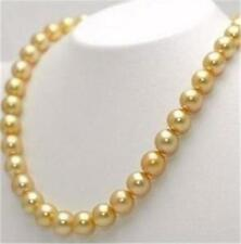 "10mm Golden South Sea Shell Pearl Necklace 36"" AAA+"