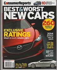 CONSUMER REPORTS BEST&WORST NEW CARS 2014,Exclusive Ratings Most(&least) Reliabl