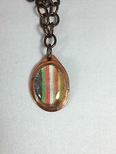 "Rafael Canada Copper ""Large Drop"" Clear Glass w/ Stripes Pendant UNUSED & SIGNED"