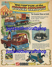 Corgi Toys Chipperfields Circus 1139 1144 Poster Advert Sign Leaflet from 1969