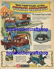 CORGI TOYS Chipperfields Circus 1139 1144 Poster Pubblicità Segno illustrativo dal 1969