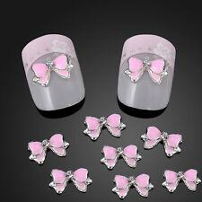 10X Bow Tie Pink Alloy Glitter 3D Rhinestone Nail Art Glitter Slice DIY Decor