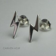 Silver Stud Earrings Solid 925 Sterling Ear Studs Lightning Bolt New, Gift Bag