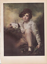 """1939 Vintage """"A BOY WITH A RABBIT"""" by RAEBURN LOVELY Color Art Plate Lithograph"""