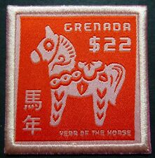 Grenada 2014 Jahr des Pferdes Lunar Year of the Horse Stickerei Stoff ** MNH