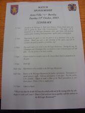 25/10/2005 aston villa v burnley: match sponsorship itinéraire feuille (plié). un
